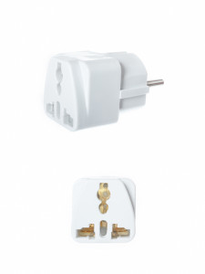 An adapter is used so North American electronics will fit in other electrical outlets that require different size plugs.