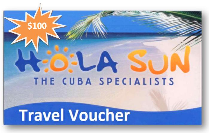 Hola Sun $100 Travel Voucher