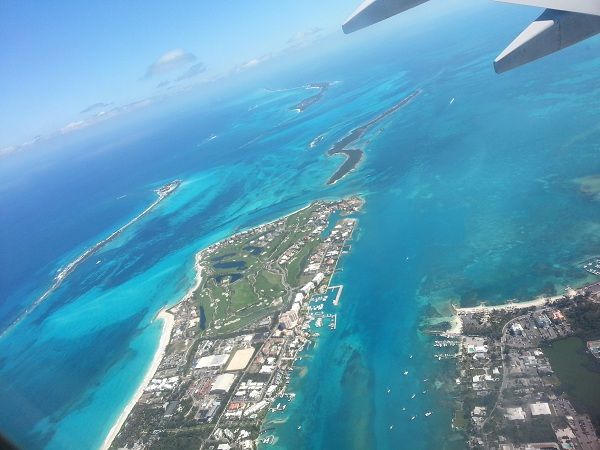 The Bahamas view from the plane