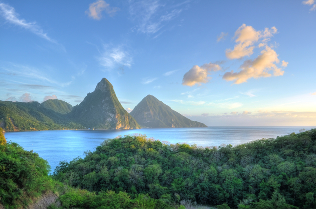 The Piton mountains are a beautiful landmark in stunning St Lucia.