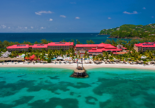 The Sandals Grande St. Lucian boasts the calmest waters in St. Lucia