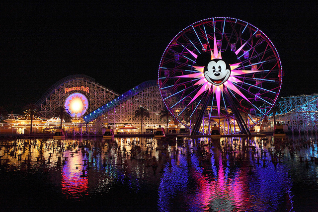 Mickey's Fun Wheel at night. Photo by Sam Howzit