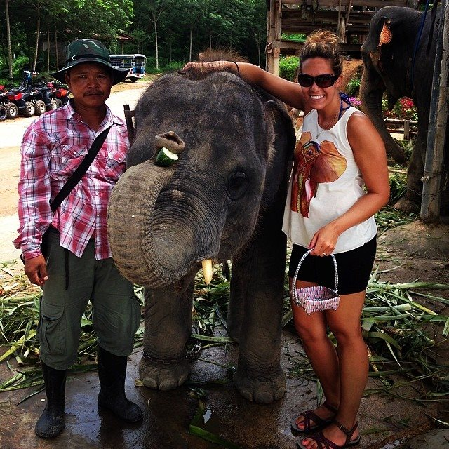 Shannon and Elephant in Thailand