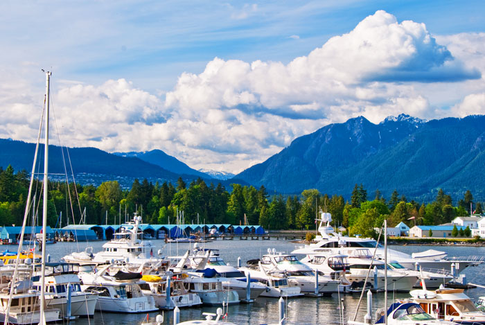 Coal Harbor marina and Stanley Park in Downtown Vancouver, Canada