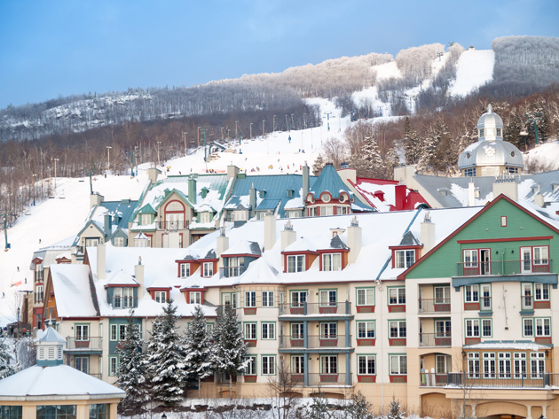 Visit Mont Tremblant for the full ski resort feeling without traveling to BC or Alberta where the hills are packed solid with people and poles.