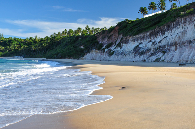 Brazil has some of the best beaches in its tiny ocean-side towns with cliffs along the side and calm, beautiful waters.