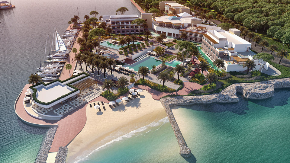 Aerial view of luxury resort AlSol Tiara Collection Cap Cana with surrounding marina and ocean
