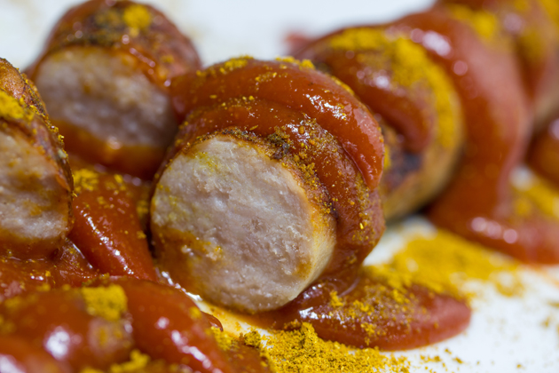 Currywurst is the famous bratwurst from Germany steamed, fried, and dosed in curry ketchup.
