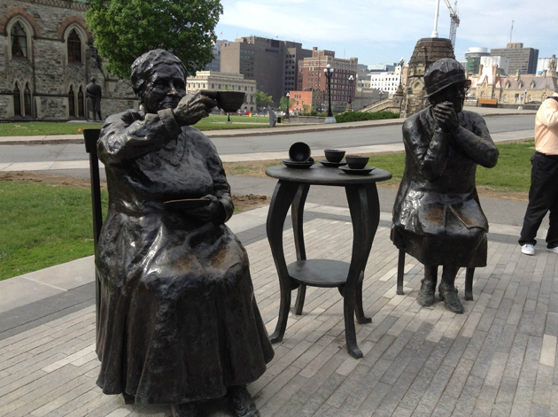 The Famous Five statue on Parliament Hill recognizes the women are Persons case