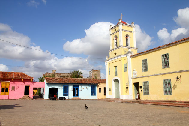 Historic, colourful buildings in historic Camaguey Cuba colonial city