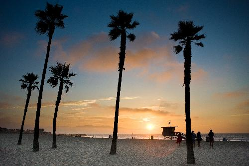 sunset at Venice Beach Los Angeles