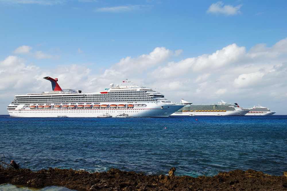 Cruise liners anchored near Grand Cayman island