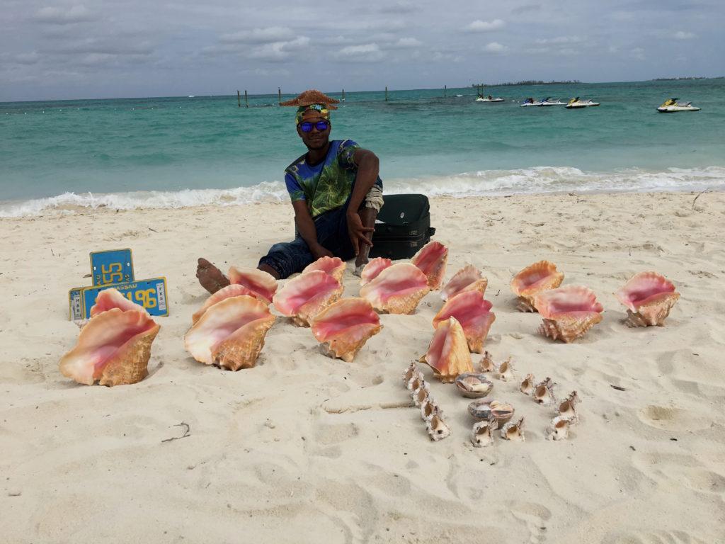 davano-mackenzie-selling-conch-shells-on-the-beach
