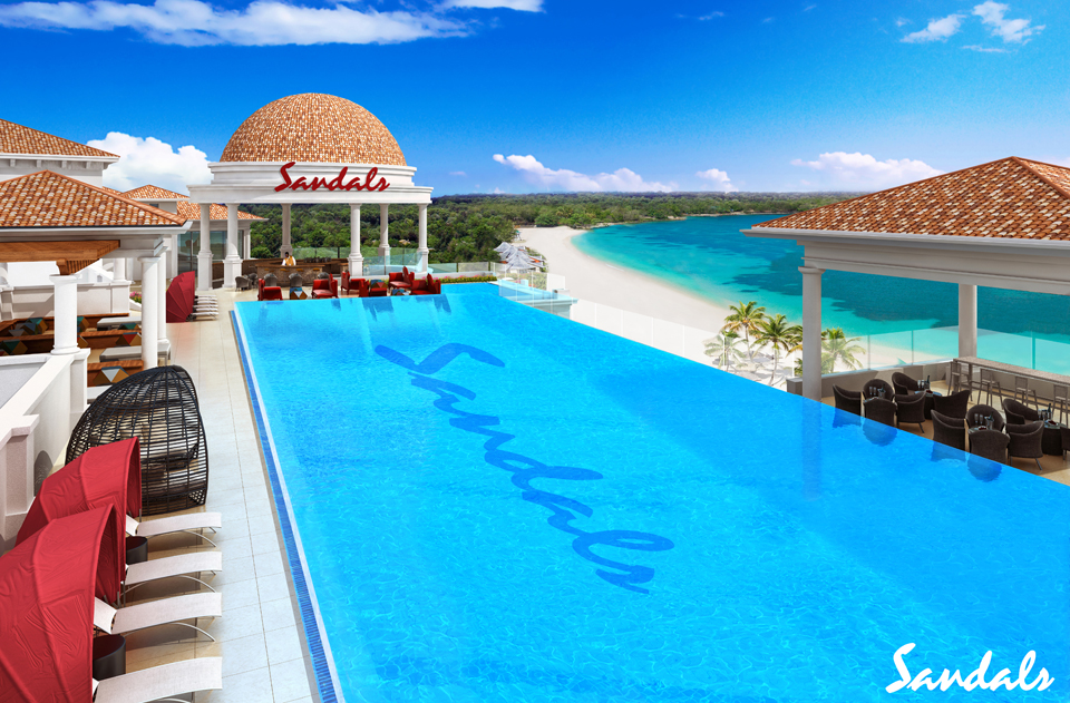 Rooftop pool overlooking the ocean at the Sandals Royal Barbados