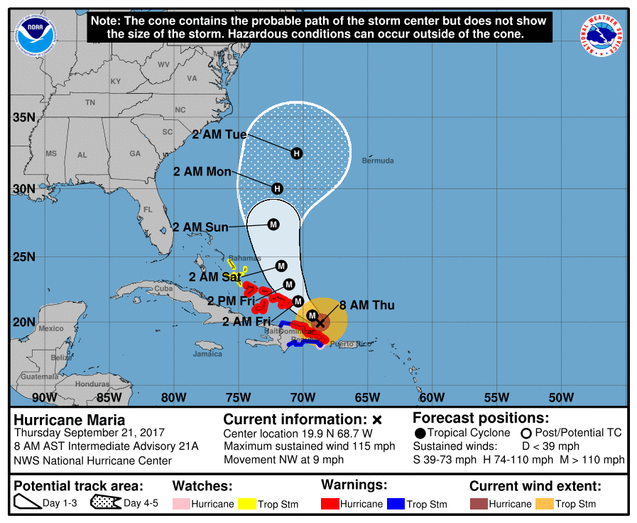 Hurricane Maria forecast map, snapshot taken 8am Sept 21