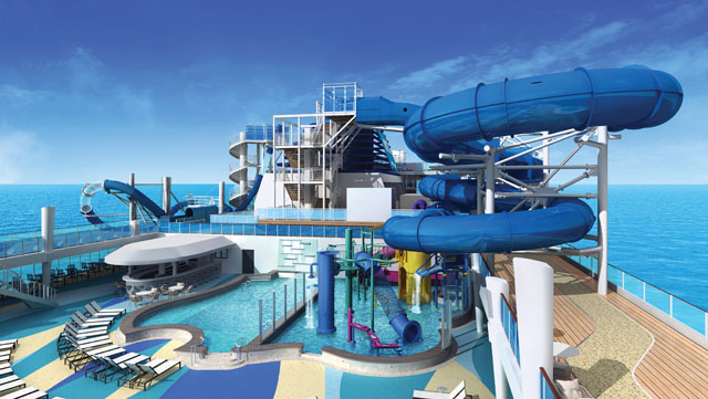 Waterslides onboard the Norwegian Bliss cruise ship