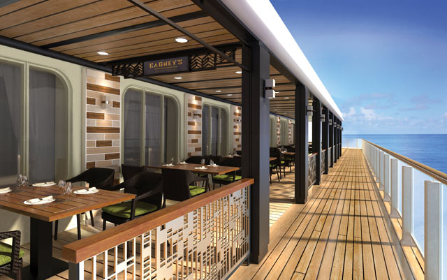 Walkway lining restaurants and patios on Norwegian Bliss cruise ship